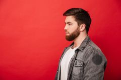 Portrait in profile of concentrated man 30s in jeans jacket look. Ing straight on copyspace with brooding serious gaze  over red background Stock Photos