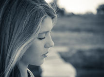 Portrait in profile of a teenage girl clos up Royalty Free Stock Images