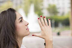 Portrait of profile woman meditating, outdoor. Royalty Free Stock Photography