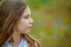 Portrait profile of young cute girl Stock Photo