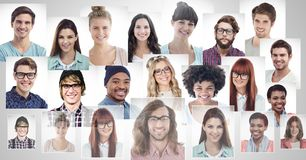 portrait profiles of different people royalty free stock image