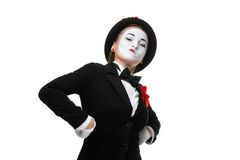 Portrait of the proud and arrogant mime. Portrait of the proud and arrogant woman as mime in a proud pose. isolated on white background. The concept of royalty free stock photo