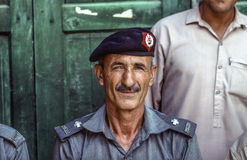 Portrait of proud elderly policeman in Peshawa Stock Photo