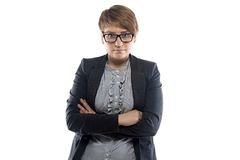 Portrait of pudgy business woman with short hair Stock Photography