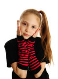 Portrait of a punk rock girl. Cute young girl isolated on a white background, wearing pirate punk gloves Royalty Free Stock Photo