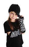 Portrait of a punk rock young girl with hat. Cute young preschool age girl isolated on a white background, wearing punk clothes and rock star Royalty Free Stock Photos