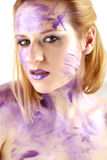 Portrait with purple ink Royalty Free Stock Photography