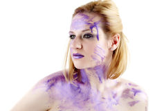 Portrait with purple ink Royalty Free Stock Image