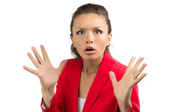 Portrait of puzzled business woman Stock Photo