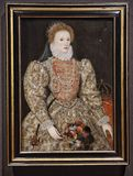Portrait of Queen Elizabeth I, by an unkown English artist. royalty free stock images