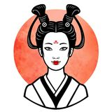 Portrait réaliste de la jeune fille japonaise une coiffure antique Geisha, maiko, princesse Photographie stock libre de droits