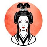 Portrait réaliste de la jeune fille japonaise une coiffure antique Geisha, maiko, princesse Image libre de droits
