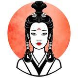 Portrait réaliste de la jeune fille japonaise une coiffure antique Geisha, maiko, princesse Images libres de droits