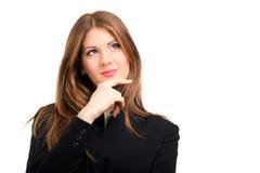 Portrait réfléchi de sourire de femme d'affaires d'isolement sur le blanc photos libres de droits