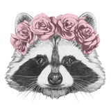 Portrait of Raccoon. Portrait of Raccoon with floral head wreath. Isolated on white background vector illustration