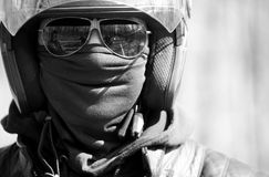 Portrait of racer in helmet on sunglasses Stock Photography