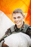 Portrait of ranger with a parachute after landing Royalty Free Stock Photography