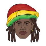 Portrait of rastaman. The black man`s face in a Rastaman hat.  Stock Photography