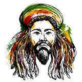 Portrait of rastaman. Jamaica theme. Reggae concept design. Tattoo art. Hand drawn grunge style art. Royalty Free Stock Photo