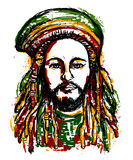 Portrait of rastaman. Jamaica theme. Reggae concept design. Tattoo art. Hand drawn grunge style art. Retro banner, card, t-shirt, bag, print, poster.Vintage Stock Illustration