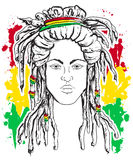 Portrait of rastaman. Jamaica theme. Reggae concept design. Tattoo art. Hand drawn grunge style art. Retro banner, card, t-shirt, print, poster. Vintage Stock Images