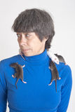 Portrait with rats Stock Image