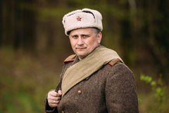 Portrait Re-enactor Dressed As Russian Soviet Red Army Infantry Royalty Free Stock Photo