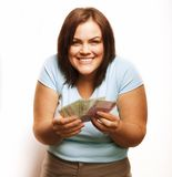 Portrait of real fat young woman with money Stock Image