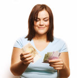 Portrait of real fat young woman with money Royalty Free Stock Photo