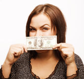 Portrait of real fat young woman with money Royalty Free Stock Photography
