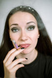 Portrait of a real female smoker Royalty Free Stock Photos