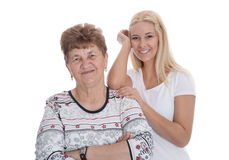 Portrait of real grandmother with her granddaughter. Stock Photos