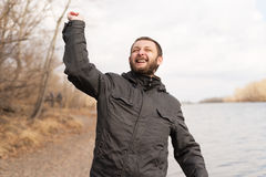 Portrait of a real positive man outdoors Royalty Free Stock Photography