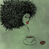 Portrait realist black woman with coffee with lipstick fashion Royalty Free Stock Images