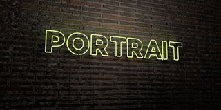 PORTRAIT -Realistic Neon Sign on Brick Wall background - 3D rendered royalty free stock image Stock Images
