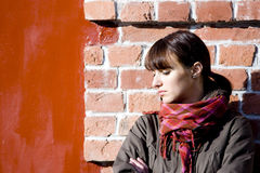 Portrait on red background Stock Photos