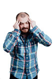 Portrait of a red-bearded, balding male brutal. White isolated b Stock Photos
