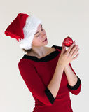 Portrait with red christmas ball royalty free stock photo