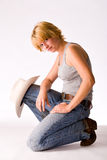 Portrait of a red haired Cowgirl stock image
