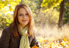 Portrait of red-haired girl in the autumn park Stock Photos