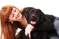 Portrait of the red-haired girl with a dog Stock Photo