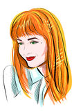 Portrait of red-haired girl with green eyes Royalty Free Stock Photos