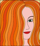 Redheaded cute smiling girl. Portrait of red-haired girls with hair covering half his face Royalty Free Stock Photos