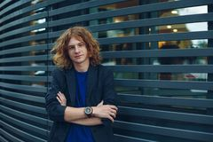 Portrait of red haired man over urban futuristic background Royalty Free Stock Images