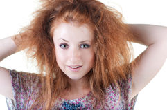 Portrait of red-haired smiling girl. Royalty Free Stock Photography