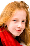 Portrait of red head girl with red shawl. On white royalty free stock photo