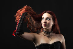Portrait of a red hear gothic girl Stock Photography