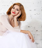 Portrait of the redhaired woman Stock Photos