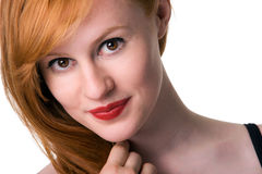 Portrait of redhead. Portrait of Beautiful redhead, isolated on white Royalty Free Stock Photography