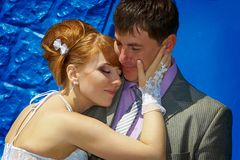 Portrait  redhead  bride and groom Stock Photo